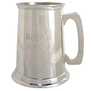 Engravable Pewter Tankard with Glass Bottom