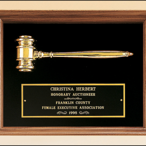 PG2440 Plaque with Metal Goldtone Gavel